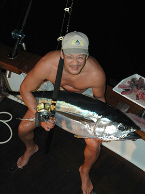 Yellowfin Tuna at night.